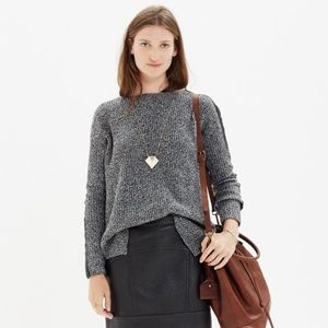 Madewell leather-stripe marled sweater